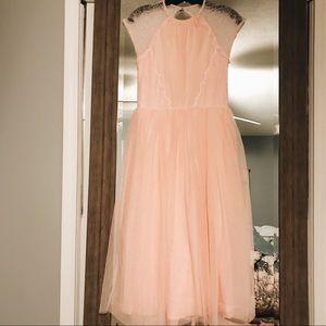 Light pink backless tulle dress